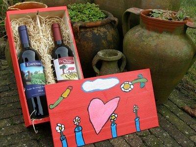Wijn met een hart in een speciaal kistje!